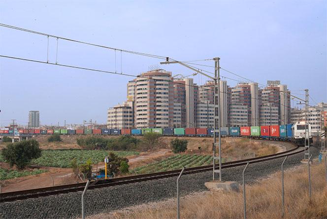 Tren de mercancías acercándose a la estación de la Fuente de San LuisFoto: Juanjo Hernández