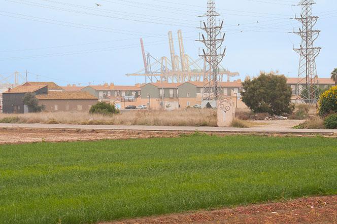 Poblado de casas adosadas con las grúas del puerto al fondo. Foto: Juanjo Hernández