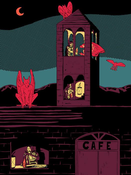 """Ilustración de Jaume Pallardó, en la exposición colectiva """"Tú la llevas"""""""