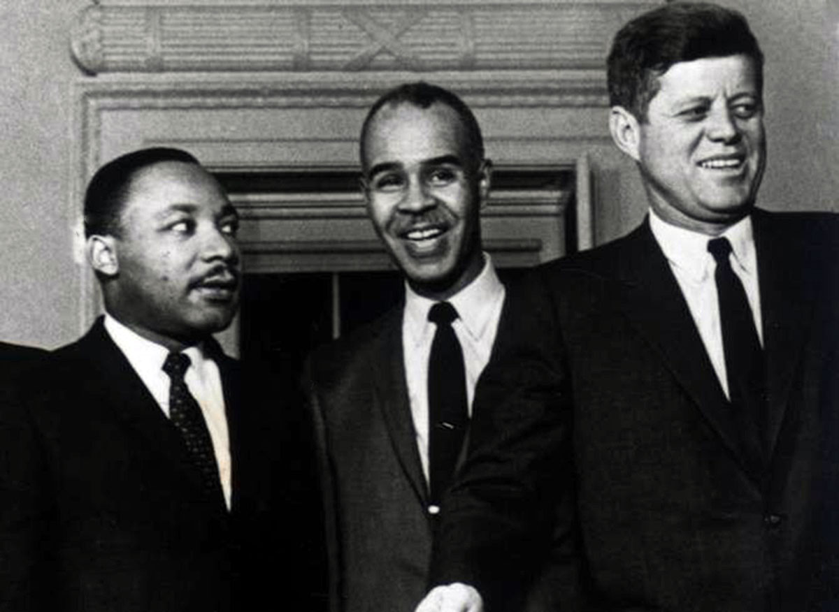 Martin Luther King with Roy Wilkins with President Kennedy Oval Office