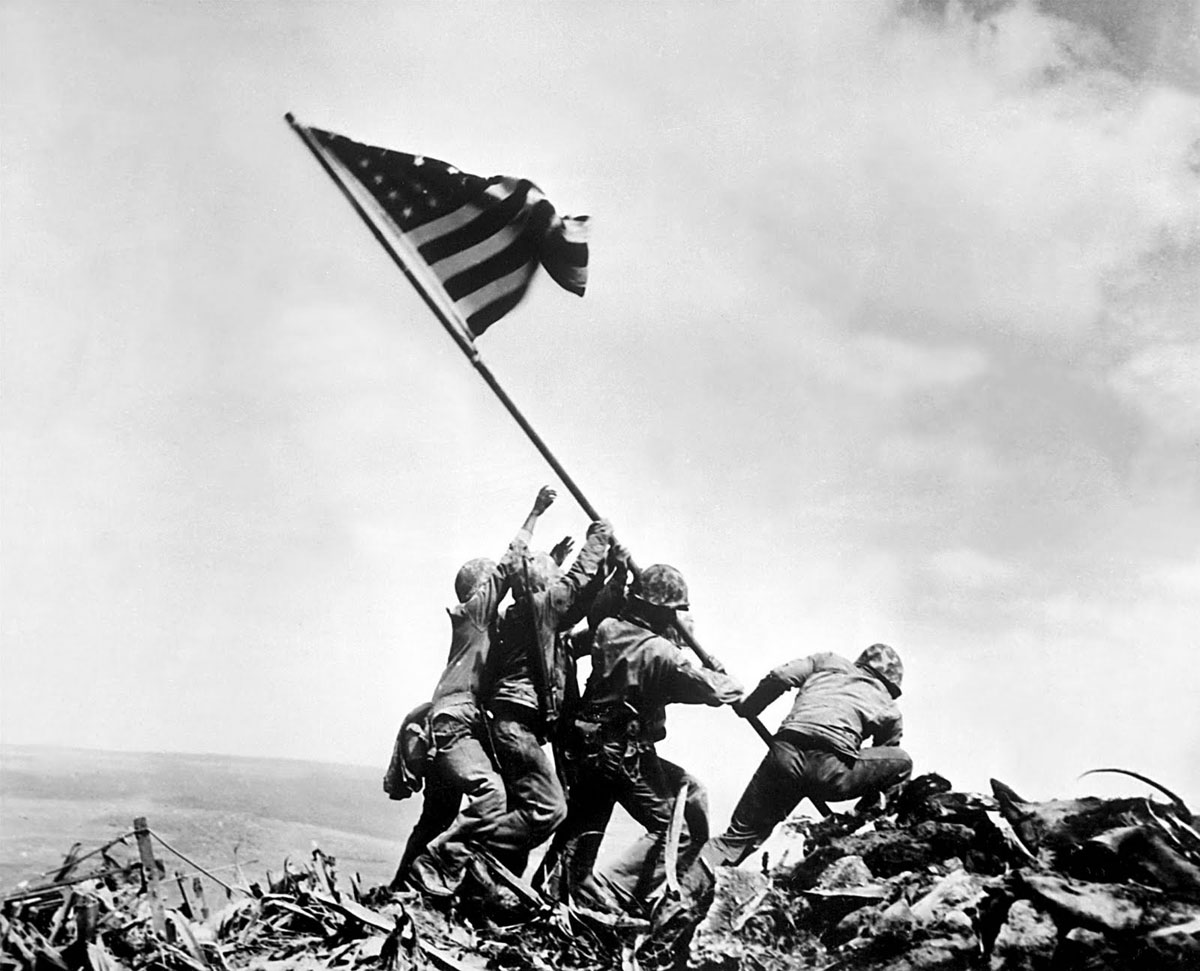Raising the flag on Iwo Jima. Joe Rosenthal