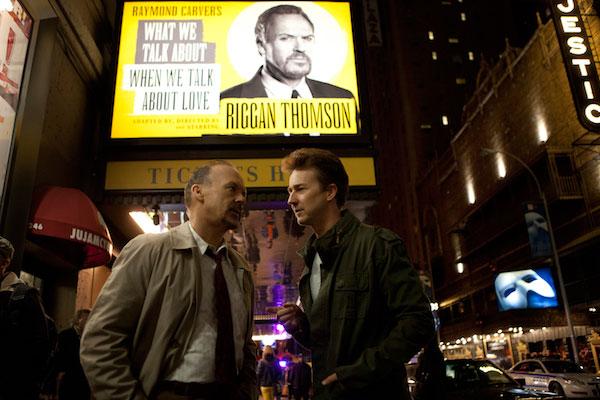 """Micheal Keaton y Edward Norton en """"Birdman"""""""