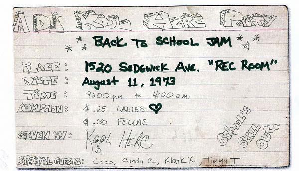 """Primer flyer de la historia? Kool Dj Herc organiza y diseña la fiesta """"Back to school jam"""""""