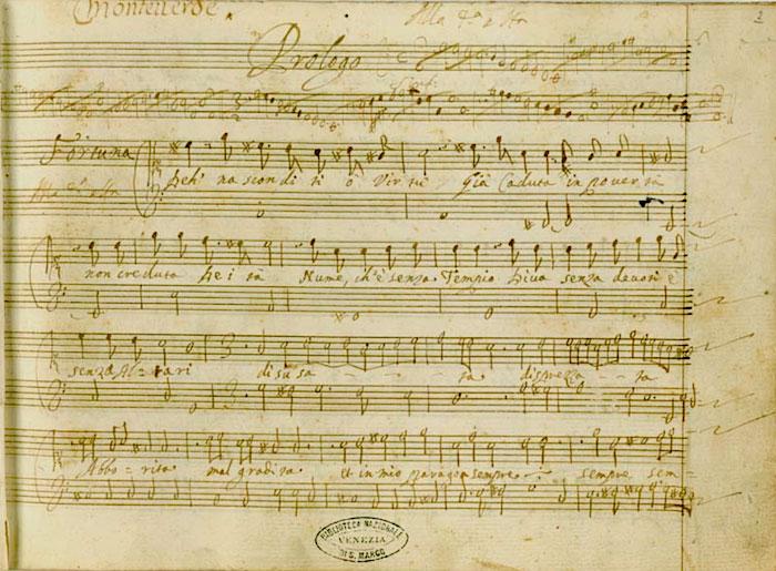 """Primera página del """"Prologo"""" del manuscrito de """"L'incoronazione di Poppea"""""""