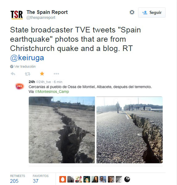Desmentido a TVE 24 horas de The Spain Report