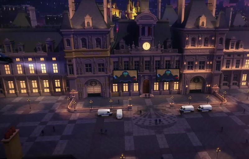 """Imagen nocturna del ayuntamiento de París en la serie de animación:""""Las aventuras de Ladybug"""""""