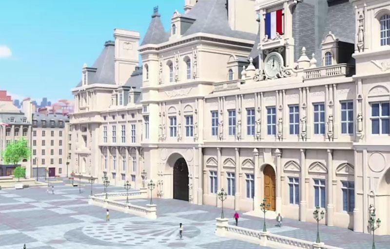 """El ayuntamiento de París en la serie de animación: """"Las aventuras de Ladybug"""""""