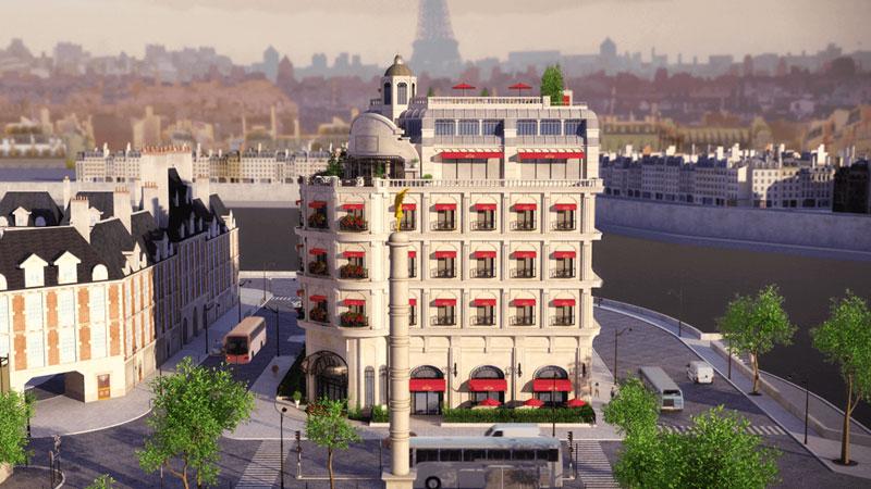 """Edificio de París junto al Sena en la serie de animación: """"Las aventuras de Ladybug"""""""