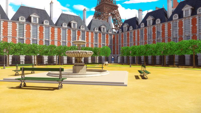 """Plaza de los Vosgos en la serie de animación: """"Las aventuras de Ladybug"""""""