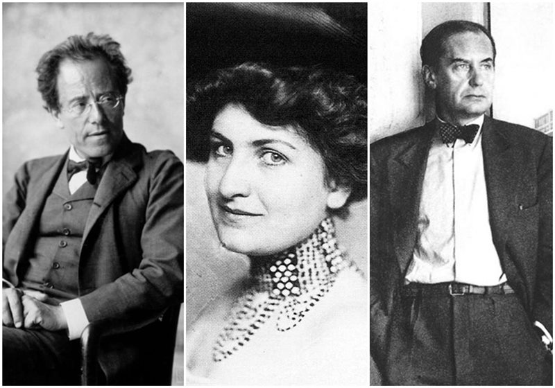 Gustav Mahler, Alma Mahler y Walter Gropius.