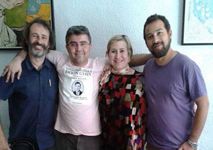 Carmen Calvo con los directores de Canibaal: Rochera, Alcota, Pinto Briones (se echa en falta a Amador)