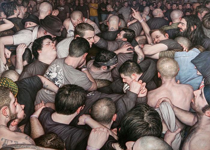 Mosh Pits, baile pogo (pintura hiperrealista) de Dan Witz