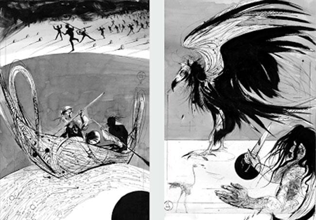 Ilustraciones de Luis Scafati de la narración de Arthur Gordon Pym en Zorro Rojo