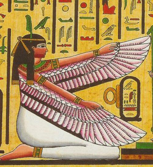 Maat: imagen del antiguo Egipto de la verdad y la justicia, nótese lo recto de su pluma