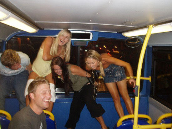 Mooning in a bus