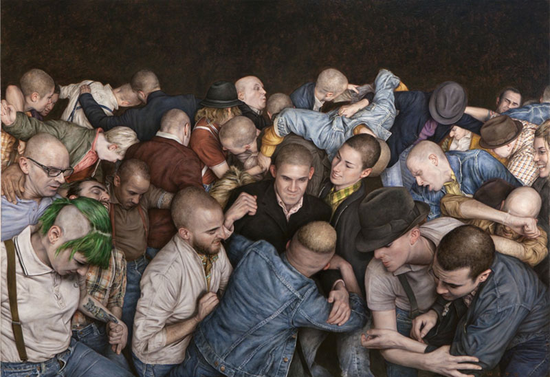 Estupenda pintura realista de Dan Witz: Mosh Pits (Human and Otherwise)
