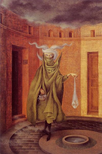 «Mujer saliendo del psicoanalista» Remedios Varo, 1960
