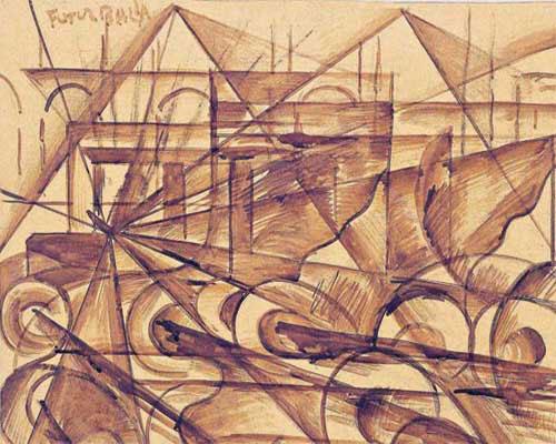 GIACOMO BALLA . Velocidad de automóvil (Velocidad n° 1), 1913
