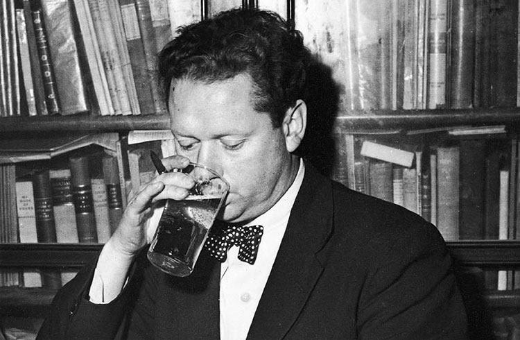 Dylan Thomas is drinking