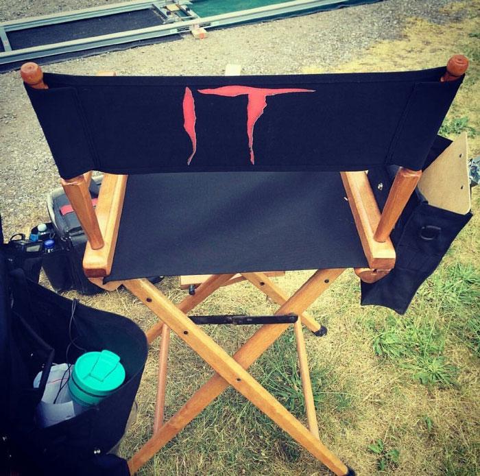 "Silla de rodaje de ""It"", de Stephen King"