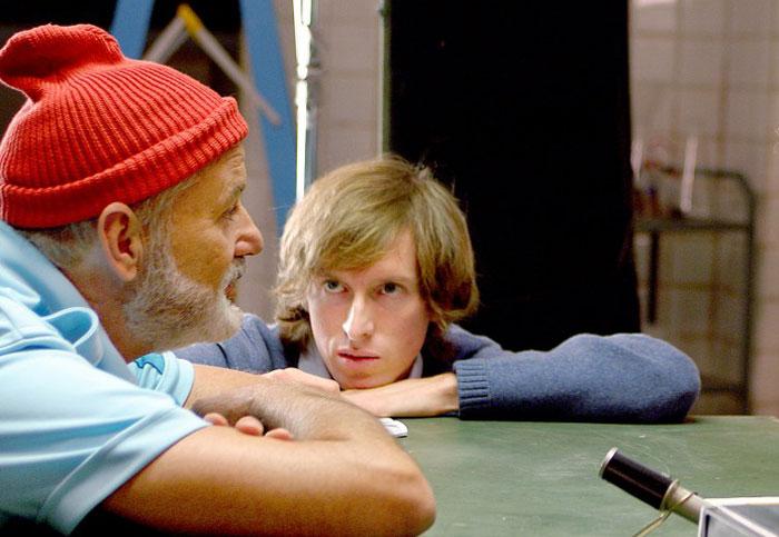 Bill Murray y Wes Anderson en el rodaje de Life Aquatic (2004)