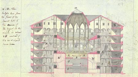 Panóptico, dibujo de sección de Jeremy Bentham