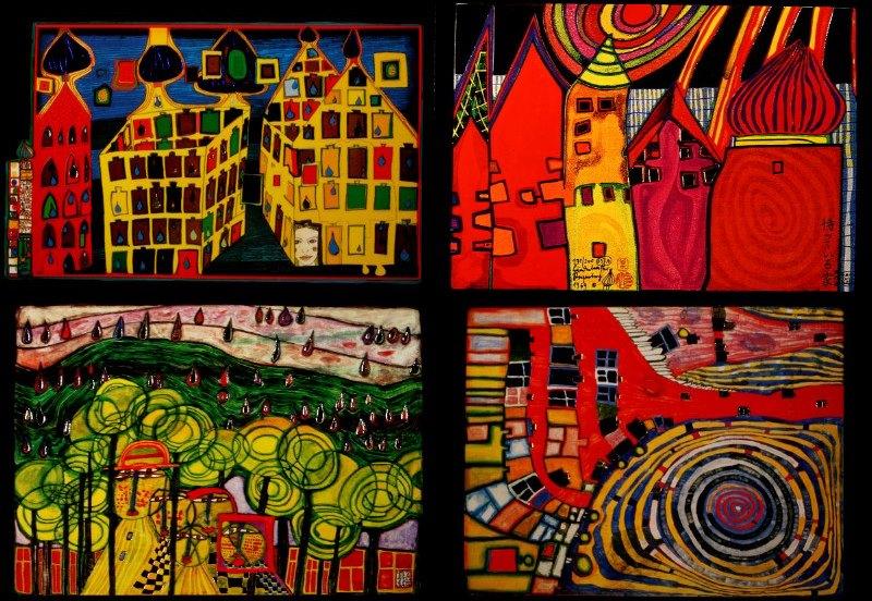 Composición de 4 sellos, obra de Hundertwasser.