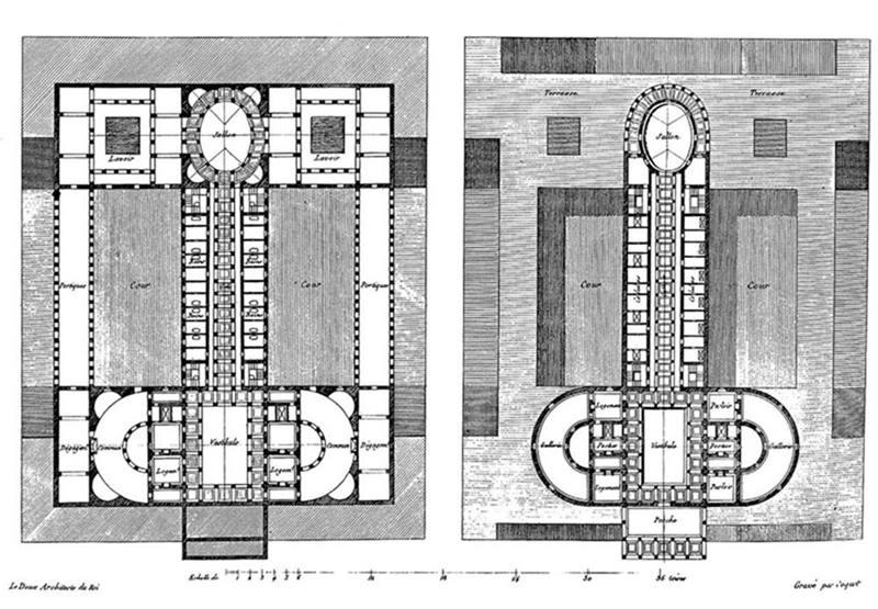Esquema de la Oikema (Casa de la pasión y el placer) del arquitecto Claude Nicolas Ledoux.