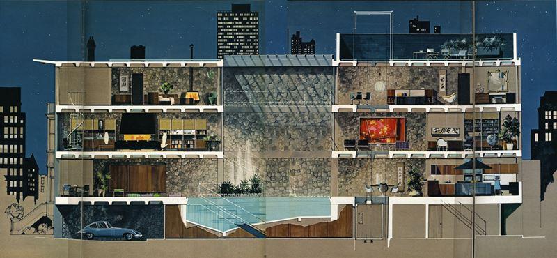 Sección longitudinal y esquema de la casa del propietario de Playboy.