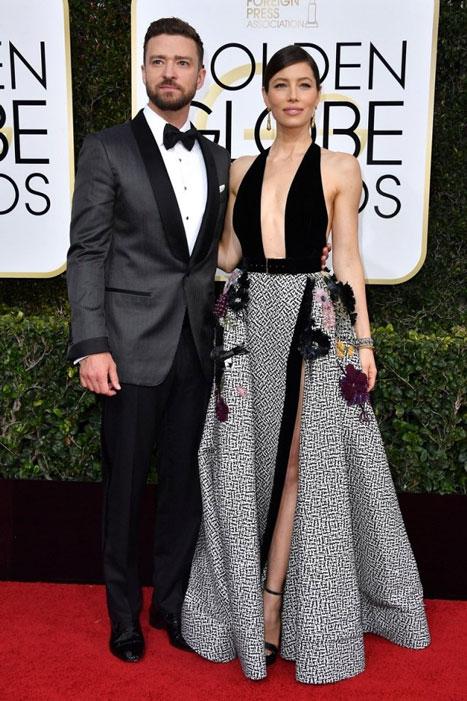 Justin Timberlake y Jessica Biel. Globos de Oro