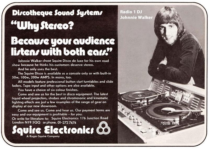 Anuncio del primer equipo de DJ de Roger 1973