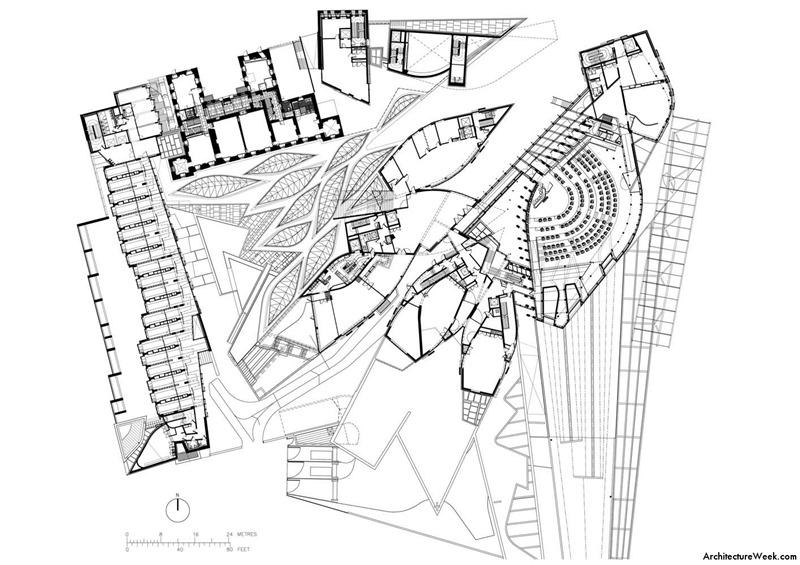 Planta general del Edificio del Parlamento de Edimburgo, arquitecto Enric Miralles. © Architecture week.