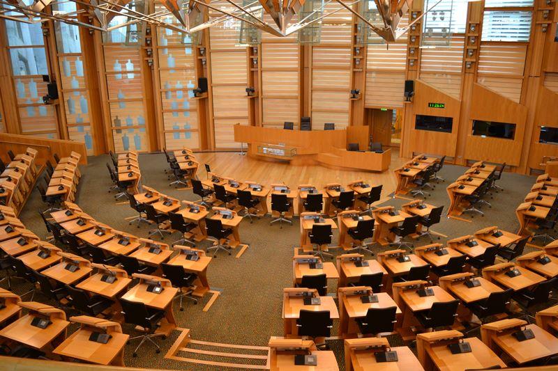 Cámara de debates del Edificio del Parlamento de Edimburgo, arquitecto Enric Miralles. © Fotografía SJLL.