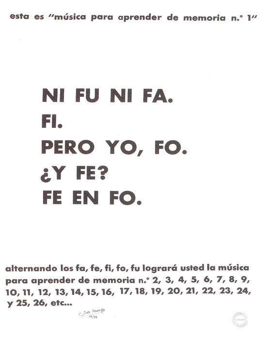 """""""Música para aprender de memoria nº1"""". Juan Hidalgo"""