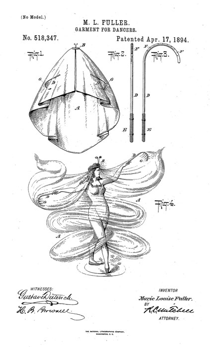 Vestuario para bailarinas. Patente de Marie Louise Fullier