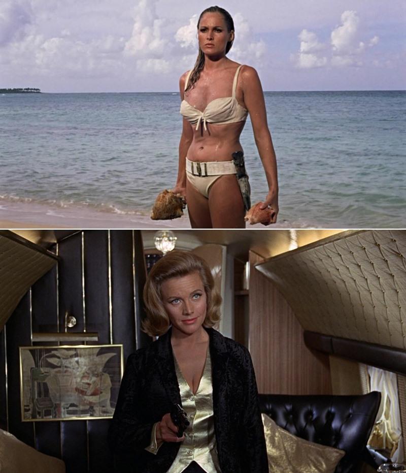 Ursula Andress en James Bond contra el Dr. No (Terence Young, 1962) y Honor Blackman en Goldfinger (Guy Hamilton, 1964).