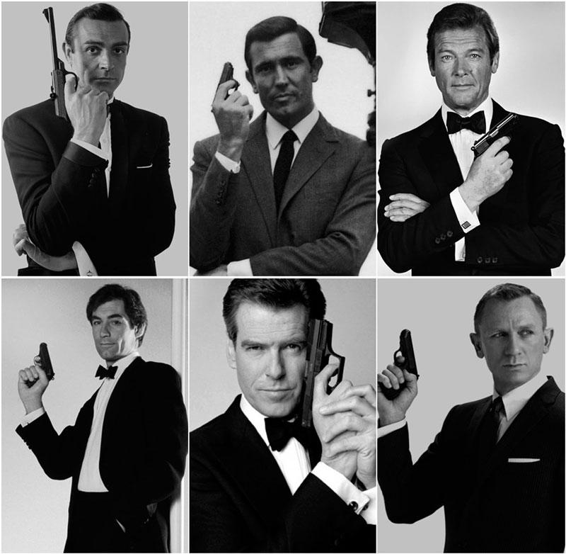 Actores que han encarnado a James Bond en el cine.