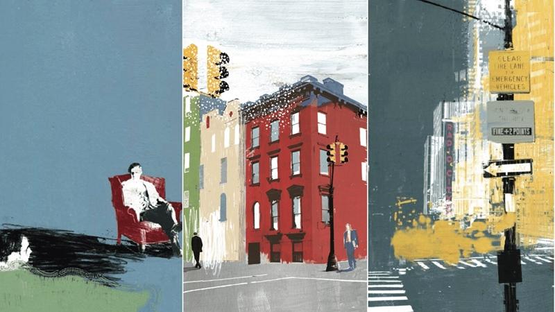 Imágenes de la Trilogía de Nueva York de Paul Auster ilustrada por Tom Burns.