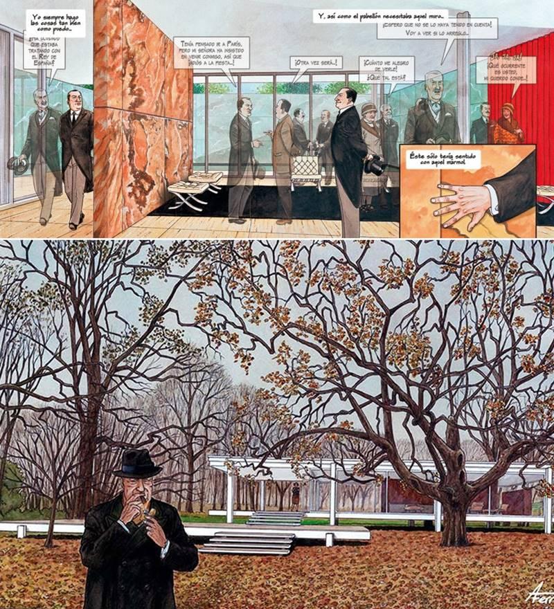 © Imágenes extraídas del cómic Mies del arquitecto e ilustrador Agustín Ferrer Casas (Marzo, 2018).