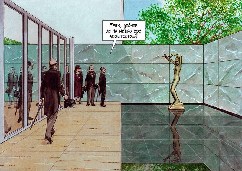 © Imagen extraída del cómic Mies del arquitecto e ilustrador Agustín Ferrer Casas (Marzo, 2018).