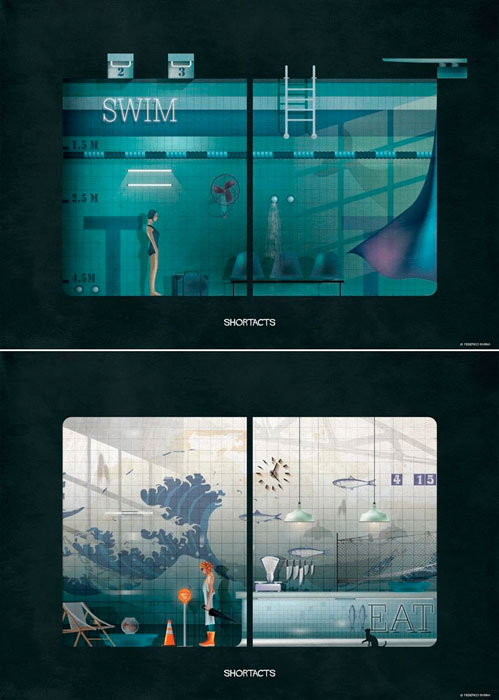 Shortacts: Swimming pool y Fish market. © Federico Babina.