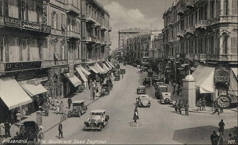Boulevard Saad Zaghloul, Alejandría, a principios del siglo XX. Lawrence Durrell