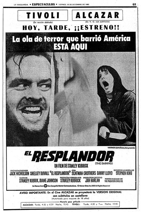 Anuncio del estreno de El resplandor, en el diario La Vanguardia. Doctor Sueño